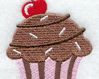 Chocolate Cherry Cupcake Embroidered Flour Sack Hand/Dish Towel