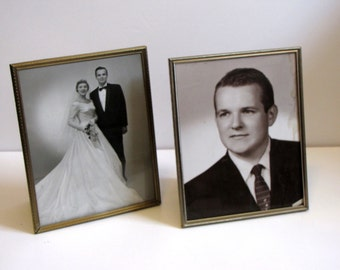 Vintage Gold Tone 8X10 Metal Picture Frames - set of two
