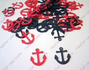 100 Navy Blue Red Anchor  Confetti Nautical Die Cut Cutout Embellishment Table Scatter