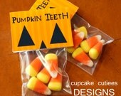 Pumpkin Teeth- Halloween Fun-  Small fold over tags  Card Craft Digital Printable U PRINT Instant Download