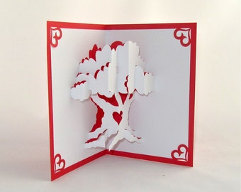 LOVE TREE VALENTINE's Day 3D Pop Up Card Handmade Handcut in Metallic Red and White One Of A Kind