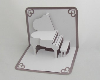 GRAND PIANO 3D Pop Up Card Origamic Architecture Home Decoration  Handmade in White and Bright Metallic Light Antique Pink Mauve OoAK.