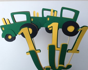 9 Piece Green and Yellow Tractor Table Decorations John Deere inspired Table Decorations Tractor Centerpiece