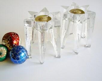 Glass Candle Holder, Stars, Votive Holder, Tea Light Holder, Set of 2, Christmas, Celebration of Light, Crystal Candle Holders, Star Shaped