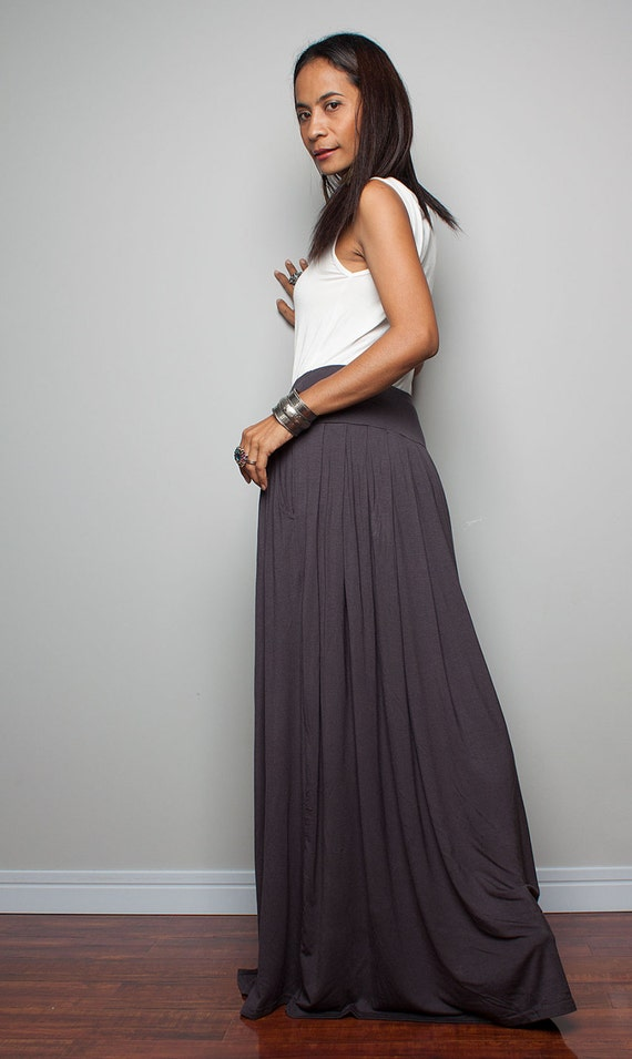 Maxi Skirt Long Dark Grey Skirt : Autumn Thrills Collection
