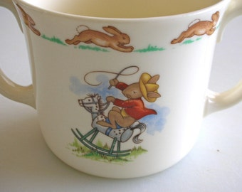 Bunnykins Cowboys & Indians Double Handle Cup - Royal Doulton Childs Keepsake Mug 9 OUNCE Baby Cup Baby Mug  Made in England Fine bone China