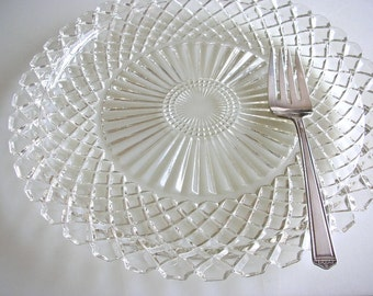 "14"" Waterford Crystal Cut Platter By Anchor Hocking Clear Pressed Glass Sandwich Plate Large Serving Cake Plate Glass Waterford Pattern"