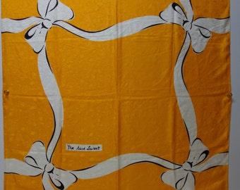 YSL  Yves Saint Laurent Apricot Silk Jacquard Bow Scarf