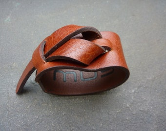 leather cuff in cognac by Muse, women's bracelet, nickel free