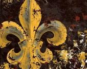 Fleur de Lis Original Painting on Canvas 14x14 Mustard