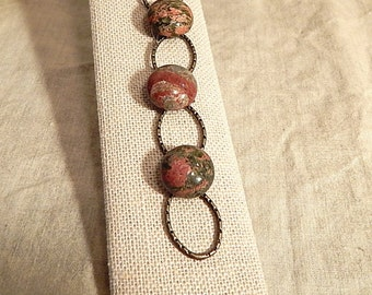 Antique Brass and Unakite Bracelet