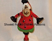 Primitive Folk Art Strawberry  Make Do Art Doll