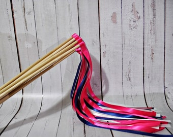 Ribbon Wands Set of 12- Hot Pink and Navy Blue