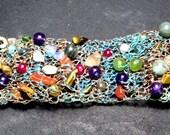 copper bracelet  with semi precious stones - oxidized .
