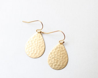 Hammered Brass Teardrop Earrings, Gold Earrings, Textured Earrings