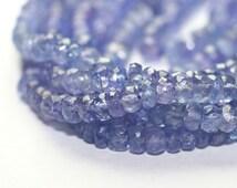 Tanzanite Micro Faceted Rondelles Large Translucent Periwinkle Semi Precious Gemstone Beads