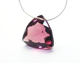 Kunzite Quartz Trillion Cut Faceted Focal Briolette Fucsia Pink Rubilite Semi Precious Gemstone