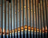 Antique Church Organ Pipes In Turquoise And Gold, Fine Art Photography Print, (Found In Manchester), Blue Grey, Gold,  Home Decor, Wall Art