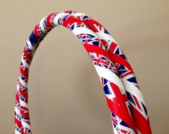 Collapsible Hula Hoop - Union Jack British Flag - For Exercise Fitness Dance - Great for Beginners - Red White Blue