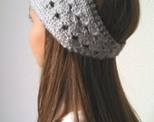 Knit Turban Headband  Headwrap Earwarmer in HEATHER GRAY - The ELLE - (more colors available)