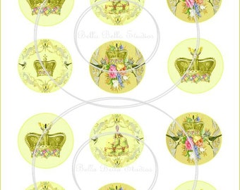 MARIE ANTOINETTE PRINTABLE Cupcake Toppers - Party Circles - Instant Download by Bella Bella Studios
