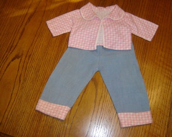 "Vintage homemade doll outfit, long-sleeve pink white checked flannel top/jacket, blue jeans w/matching flannel cuffs, fits 18"" doll, 1950s"