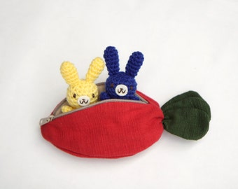 Two Small Crochet Amigurumi Bunny Rabbit in Red Carrot/Pepper, Purse/Zipper Pouch, Gift Set/Toys - MADE TO ORDER, Choose your own color