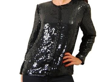 Fabulous Black Sequin Party Jacket Shirt Size S/M