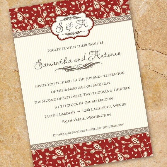 bridal shower invitations, red bridal shower invitations, red and ivory wedding invitations, cream and red wedding invitations, IN220