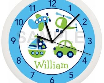 Transportation Car Nursery Wall Clock for Boy's Nursery or Bedroom