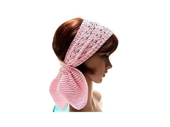 Headband Head Wrap Knitting Pattern : Scarf headband head wrap pink pastel hand knit soft bamboo ...