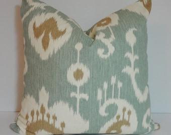 Java Spa Ikat Pillow Cover Throw Pillow Seafoam Green Brown Ikat Decorative Pillow