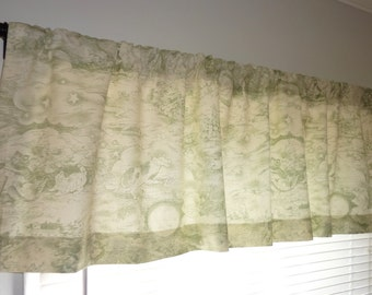 SALE Curtain Valance Topper Window Treatment 52x15 Green Ivory Valance Baby Nursery Rhymes