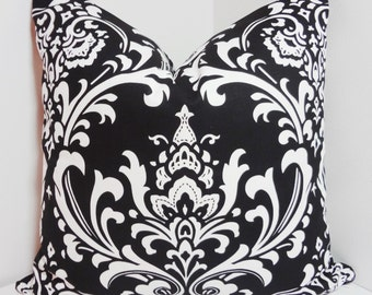 Decorative Pillow Black & White Damask Pillow Cover Throw Pillows All Sizes
