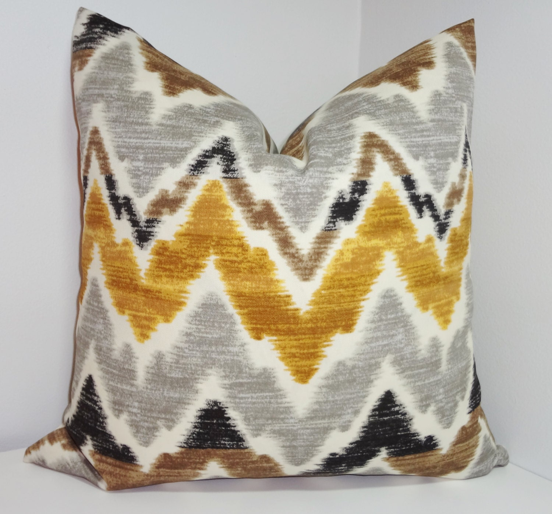 outdoor chevron pillow cover brown grey gold zig zag design. Black Bedroom Furniture Sets. Home Design Ideas