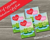 INSTANT DOWNLOAD Kids Valentines Cards, Frog Valentine (Set of 4 - You're Toad-ally Awesome) DIY Printable