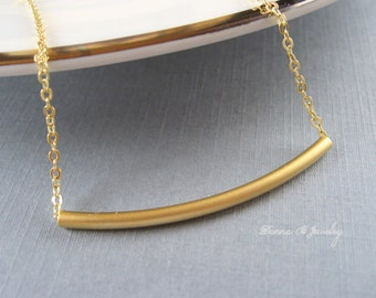 Gold Tube Necklace, Gold Bar Necklace,
