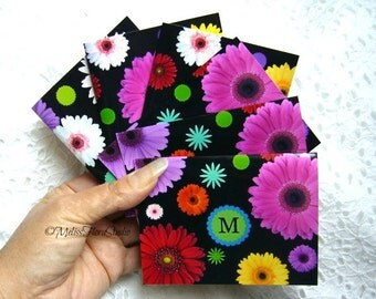 Monogram Mini Floral Note Cards, Gift Tags, Place Holders - Set of 8, Personalized Stationery