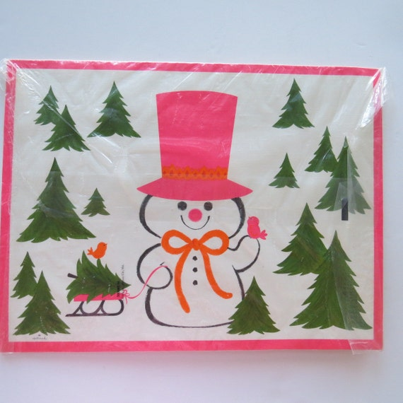 Vintage Paper Placemats by Hallmark Christmas Snowman