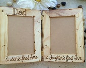 Dad a Son's First Hero, A Daughter's First Love Hinged Wood Frames Holds 2 Photos - Perfect for a Special Father
