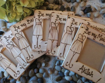 Will you Be my Bridesmaid? Personalized Wood Frame with Dress & NAME Special Keepsake ask your BFF to be Apart of your Wedding Day SET of 9