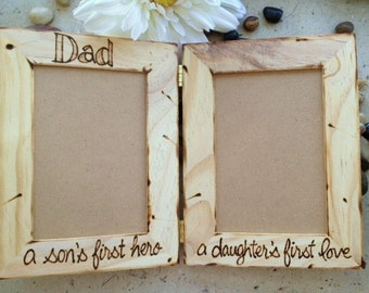 dad a sons first hero a daughters first love hinged wood frames holds 2 photos perfect for a special father