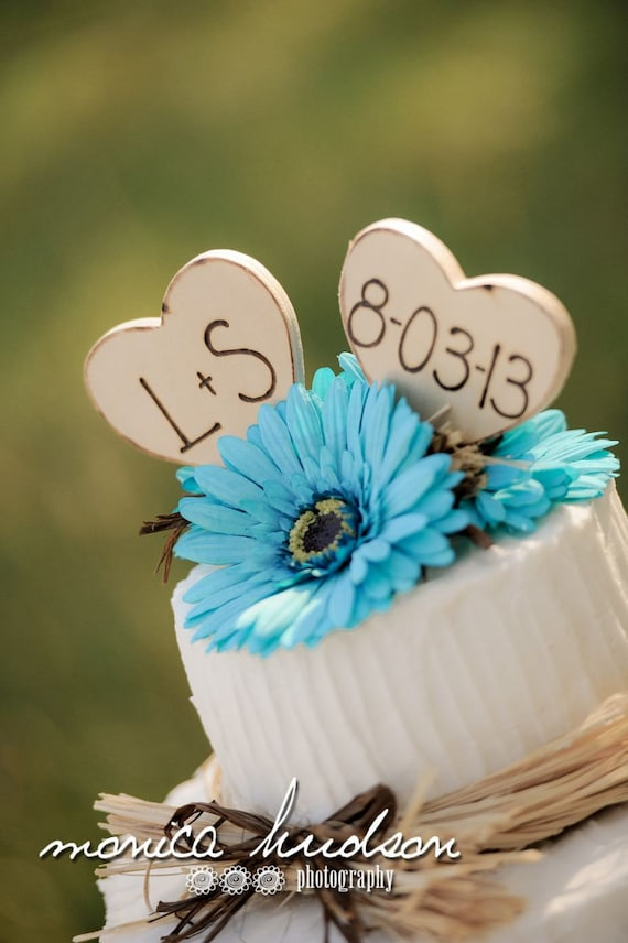 Rustic Cake Toppers Wedding Decorations Personalized with Your Initials Date On Hearts Rustic Wedding Decor Organic Natural Bride Cake