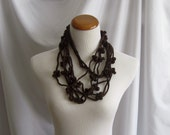 Cashmere Crochet Chain Flower Necklace - Chocolate Brown - In Cashmere & Merino Blend
