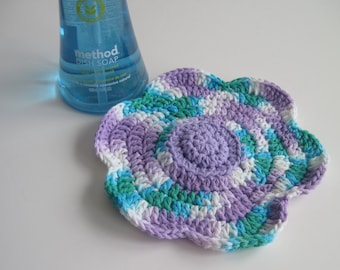 Crochet Flower Cotton Dish Cloth - Shades of Purple Lavender, Green and Blue Dishcloth