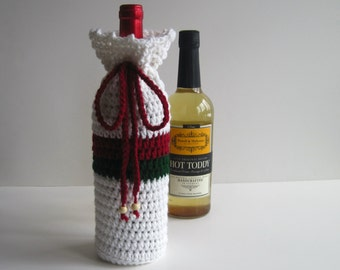 Crochet Wine Bottle Cover Crochet Cozy - White Green and Red - Christmas Gift Wrap