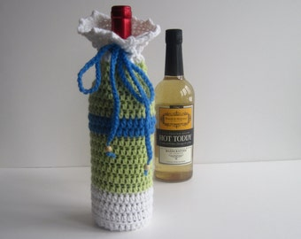 Wine Cozy - Crochet Wine Bottle Covers Sacks Gift Bags - Lettuce Green, White and Blue