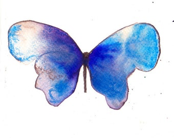 blue and purple butterfly. original watercolour painting