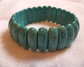 Turquoise Magnesite Bracelet, Beaded Turquoise Jewelry