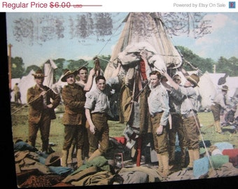antique Post Card 1908 Military Tent city
